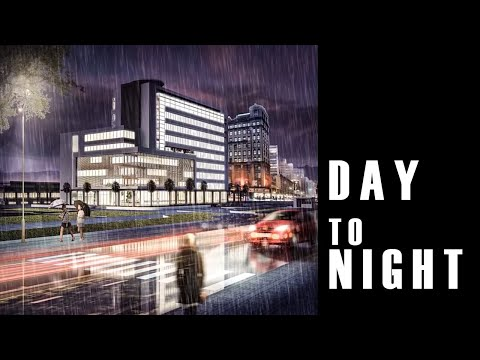 [Night Scene] Photoshop architecture rendering tutorial  : Day to night