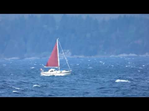 1 Yacht on Kilbrannan Sound on windy day Isle of Arran Ayrshire Scotland UK