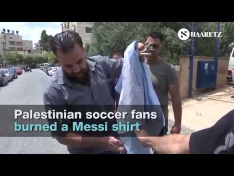 Palestinian soccer fans burn Messi shirts ahead of his Jerusalem match