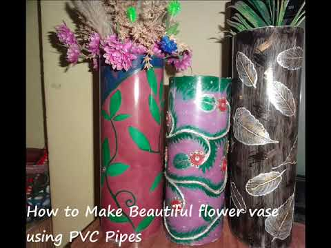 How to make pvc flower vase|Proper Utilization of wast PVC Pipe| 2015