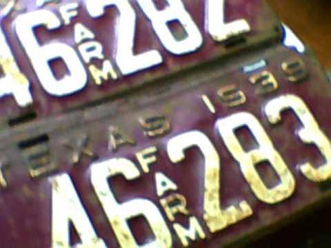 Old Texas farm plates 1939
