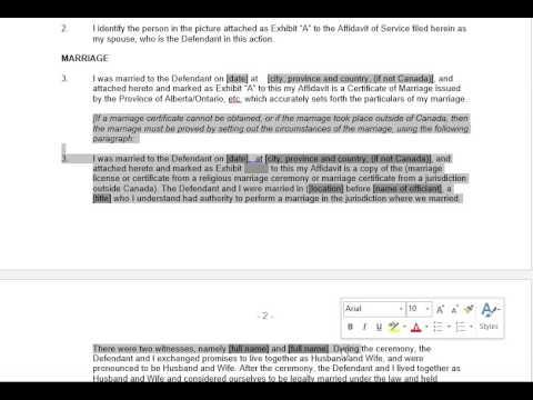 Affidavit of Applicant - Part 1 - Alberta Divorce Court Forms
