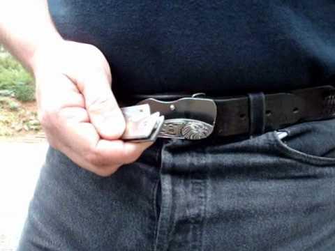 belt buckle knife on ebay