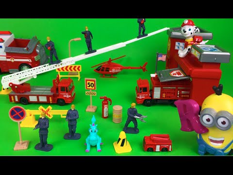 Motor Max Firestation Playset with Fire Truck Rescue Helicopter and Ladder Fire Engine