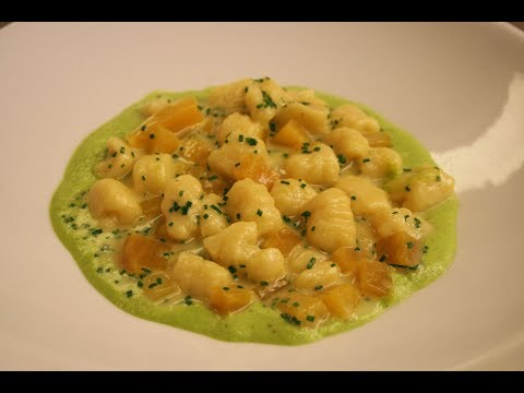 Potato Gnocchi with Golden Beets, Gorgonzola & Pistachio Pea Puree