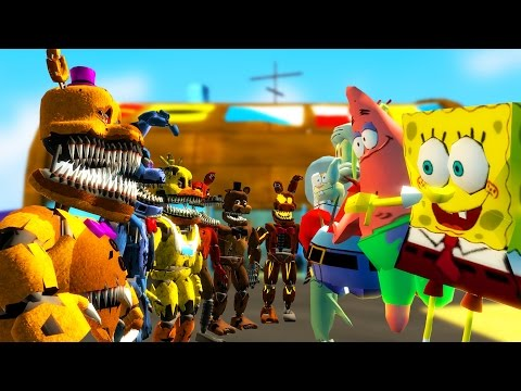 NIGHTMARE ANIMATRONICS vs SPONGEBOB! (Gmod FNAF Sandbox Funny Moments) Garry's Mod