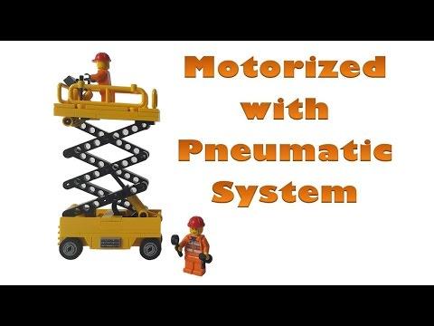 Lego Motorized Scissor Lift with Pneumatic System