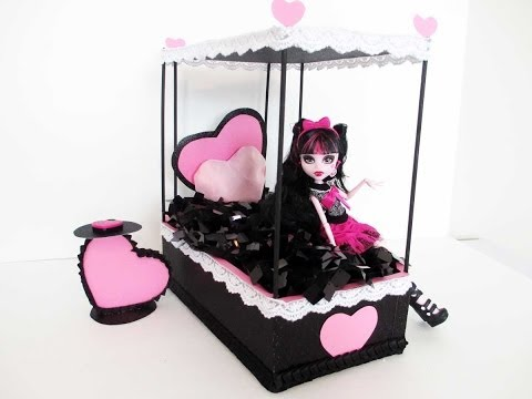 How to make a Draculaura Doll Bed Tutorial/ Monster High