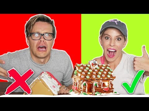 GINGERBREAD HOUSE CHALLENGE HUSBAND vs. WIFE!