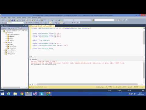 4. SQL Server Tutorial - Telugu (Primary Key,Foreign Key,Not null)