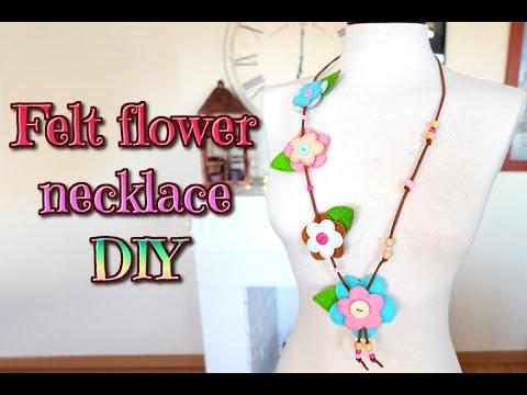Make your necklace felt, flowers felt diy, felt crafts tutorial - Isa ❤️