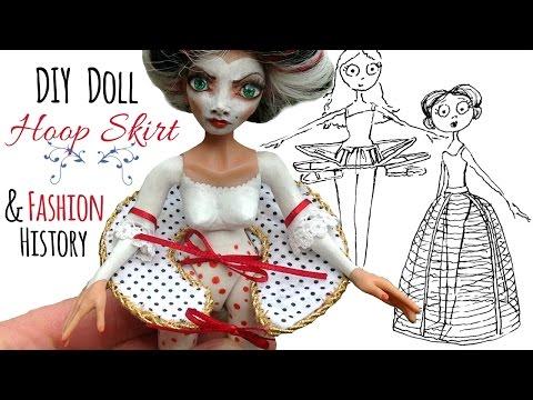 Hoop Skirt History & How to Make a Doll Hoop Skirt; DIY Historical Doll Dress