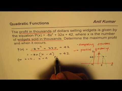 Maximum Profit in thousands Quadratic Application