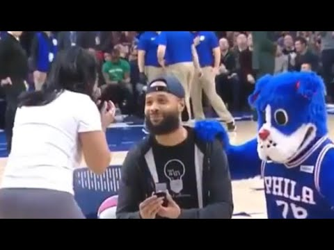 Woman Shoots Hoops During 76ers Game as Boyfriend Waits Behind Her to Propose