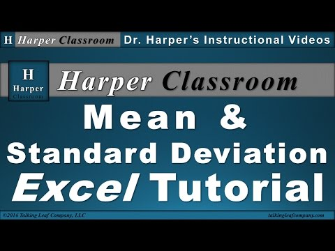 Excel Tutorial: Calculate Mean and Standard Deviation from Data | Dr. Harper's Classroom