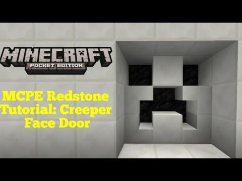 Minecraft Pocket Edition Redstone Tutorial: Creeper Face Door (MCPE 1.1.0)