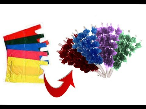 Flower bunches making with plastic carry bags | Best out of waste