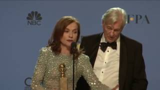 Golden Globes 2017 Isabelle Huppert and Paul Verhoeven Backstage Interview