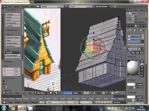 Low Poly Fantasy House Speed Modeling - Blender3D