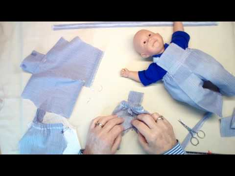 28  overalls  sewing in the doll corner.  How to make  overalls for your doll