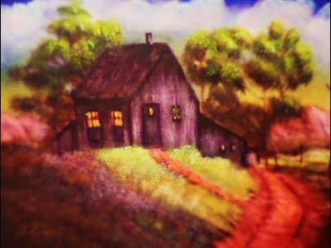 How to Paint a Country Cabin Landscape with acrylic paint Final Details Lesson 9