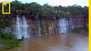 This Empty Quarry Transformed Into a Waterfall-Filled Lake | National Geographic