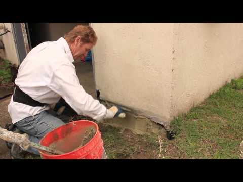 foundation repairs with stucco and or cement plaster