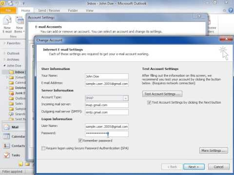 Outlook 2010 Change Your E-mail Account Password