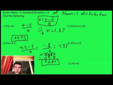 Probability of z given mean and standard deviation