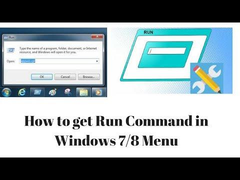 How to get Run Command in Windows 7 Menu