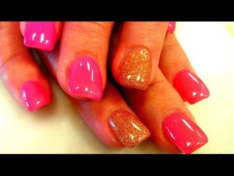 ACRYLIC NAILS WITH GEL POLISH APPLICATION