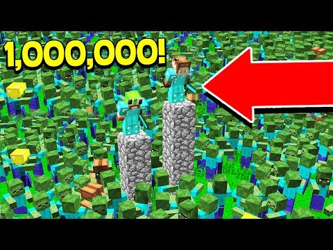 1,000,000 ZOMBIES VS UNSPEAKABLEGAMING + MOOSECRAFT! - (MINECRAFT BASE CHALLENGE)
