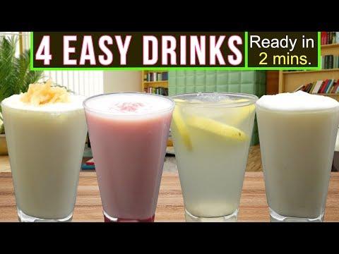 4 Delicious Easy Drinks Recipe (Ready in 2 mins!) | Summer/Ramadan Special