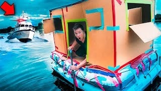 ESCAPING POLICE CHASE IN FLOATING FORT!! 🚔(24 Hour Challenge)