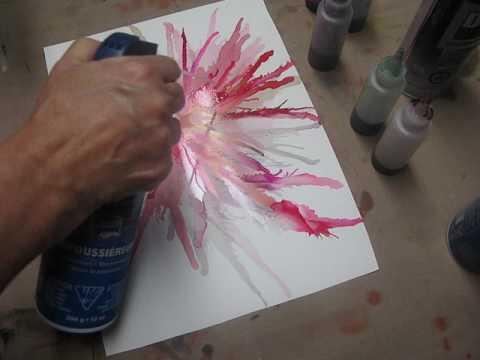 Wendy Kroeker Tutorial #1 - Alcohol inks, pink flower