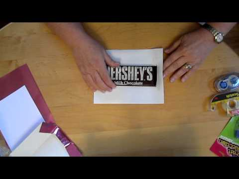 Wrap a 1.66oz Hershey candy bar with a personalized wrapper