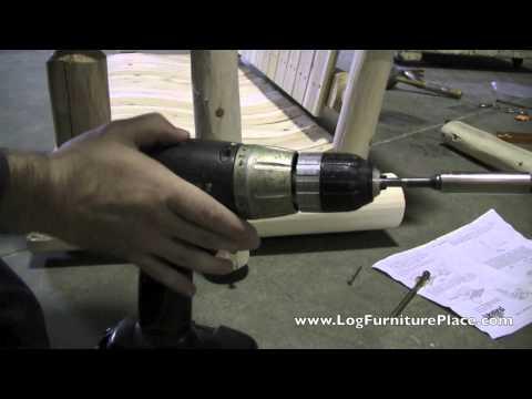 Log Porch Swing Assembly by LogFurniturePlace.com | Lakeland Mills Log Swing Assembly