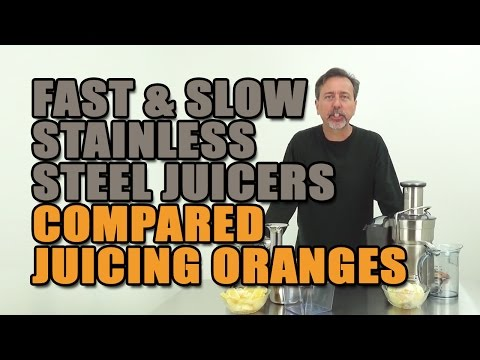 Fast & Slow Speed Stainless Steel Juicers Compared Juicing Oranges