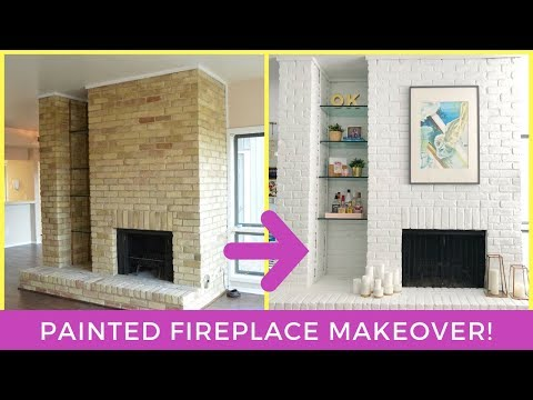 DIY PAINTED FIREPLACE MAKEOVER! PAINT YOUR BRICK FIREPLACE!