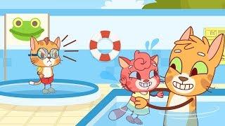 Cat Family | Cartoon for Kids | New Full Episodes #7 - Kitten Learns to Swim