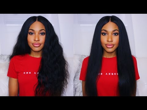 Transforming Curly Hair to Silky Straight (Eullair Lace Frontal Wig)