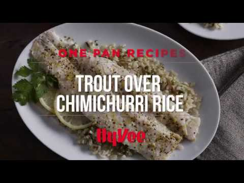 How to Make Sheet Pan Trout with Chimichurri Rice