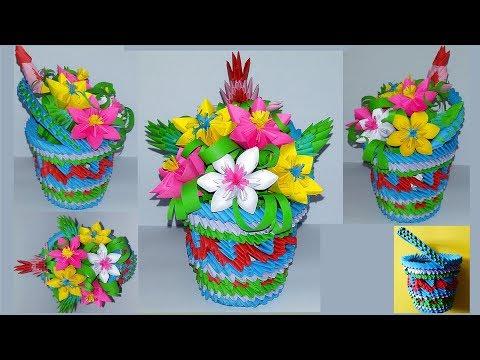 3d origami flowers basket.Tutorial