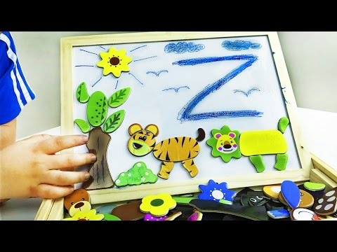 ABC (Alphabet), Animals, New words w/ wooden board toy. Educational for children. Let's Play Kids.