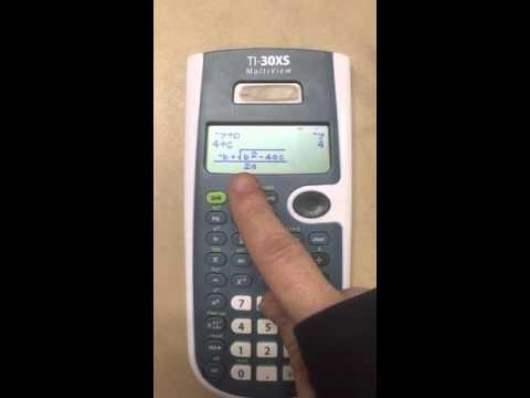 Setting up the Quadratic Formula on a TI-30xs Multiview