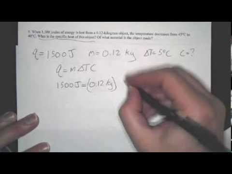 How to calculate specific heat: Example specific heat problems