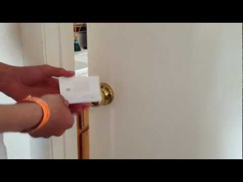 Pick a door lock with a plastic card