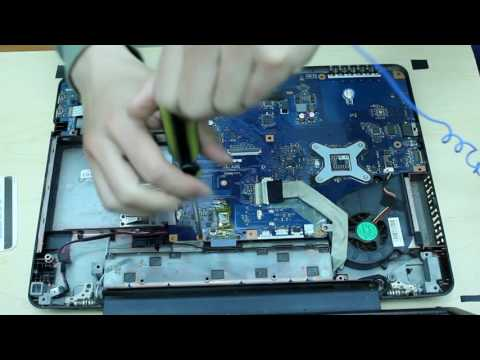 Toshiba Satellite L455 Laptop disassembly remove motherboard/hard drive/cooling fan etc.