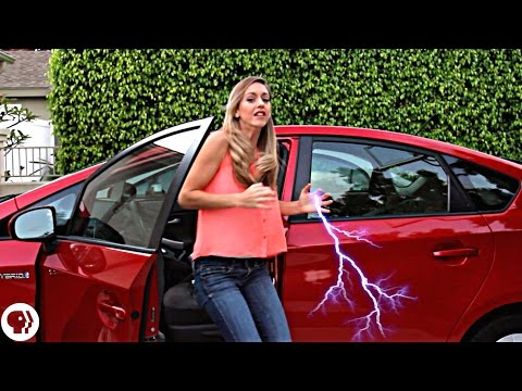 Avoid electric shock getting out of a car!