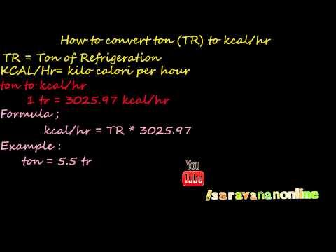 how to convert ton to kilo calorie